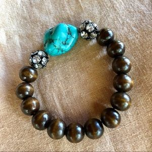 Jewelry - Turquoise and Wood Bead Stretch Bracelet
